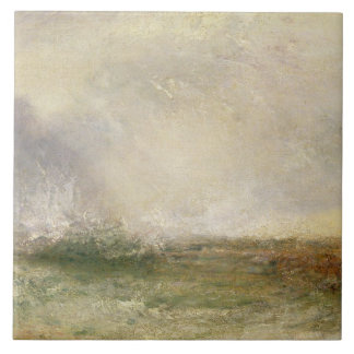 Stormy Sea Breaking on a Shore, 1840-5 (oil on can Ceramic Tile