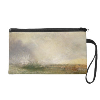 Stormy Sea Breaking on a Shore, 1840-5 (oil on can Wristlet Purse