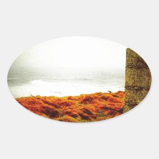 Stormy Sea Oval Sticker