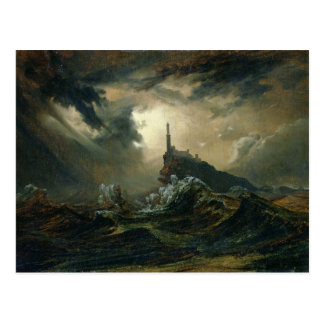 Stormy sea with Lighthouse Postcard
