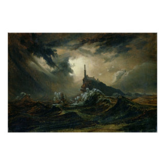 Stormy sea with Lighthouse Posters