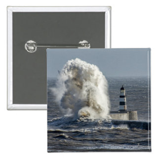 Stormy Seas at Roker Button Badge