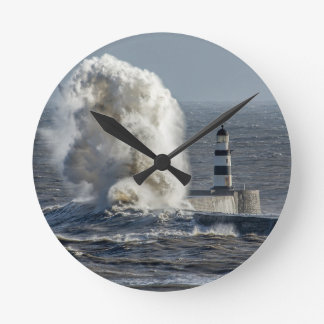 Stormy Seas at Roker Round Wall Clock