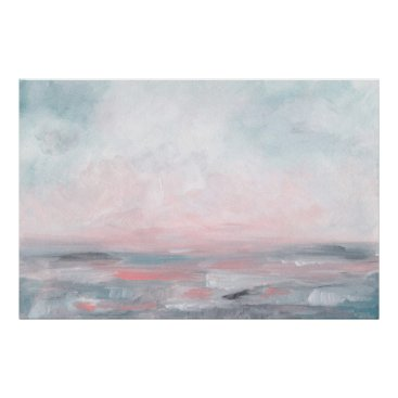 Beach Themed Stormy Seas - Gray & Pink Seascape Art Print