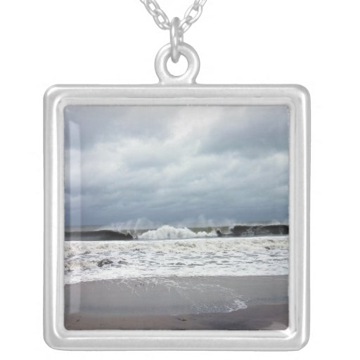 Stormy Seas of the Atlantic Ocean Square Pendant Necklace