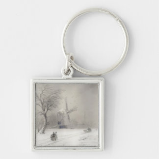 Stormy Seas off a Rocky Coast  Ivan Aivazovsky sea Silver-Colored Square Keychain