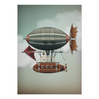 Stormy Skies Airship Aleutian | Steampunk Travel Poster