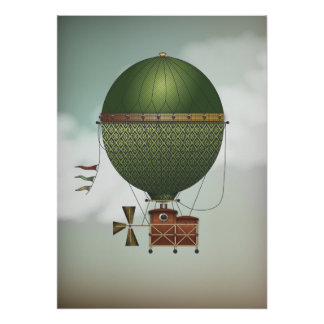 Stormy Skies Airship Citronnier | Steampunk Travel Print