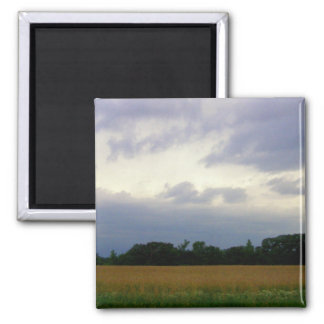 Stormy skies bad weather approaching farm fields magnets