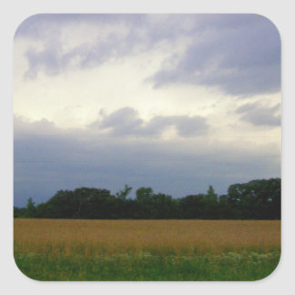 Stormy skies bad weather approaching farm fields square stickers