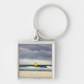 Stormy skies over Bronte Beach Silver-Colored Square Keychain