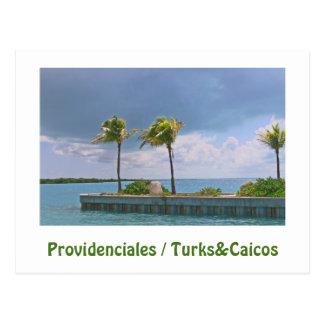 STORMY SKY/ 3 PALM TREES/PROVIDENCIALES/TURKS &CAI POSTCARD