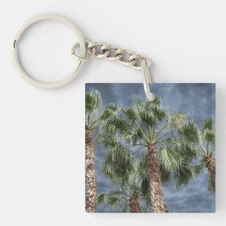 Stormy Sky Palm Trees Keychain