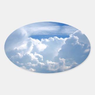 Stormy sky with clouds oval sticker
