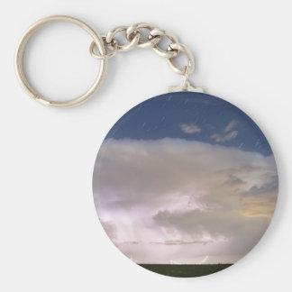 Stormy Starry Night Basic Round Button Keychain