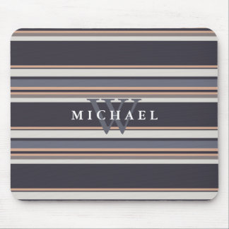 Stormy Stripes Custom Name & Monogram Mouse Pad