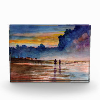 Stormy Sunset Beach Combing Watercolor Seascape Awards