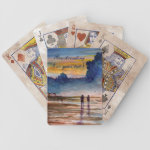 Stormy Sunset Beach Combing Watercolor Seascape Bicycle Playing Cards