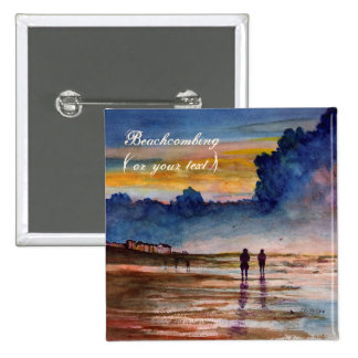 Stormy Sunset Beach Combing Watercolor Seascape 2 Inch Square Button