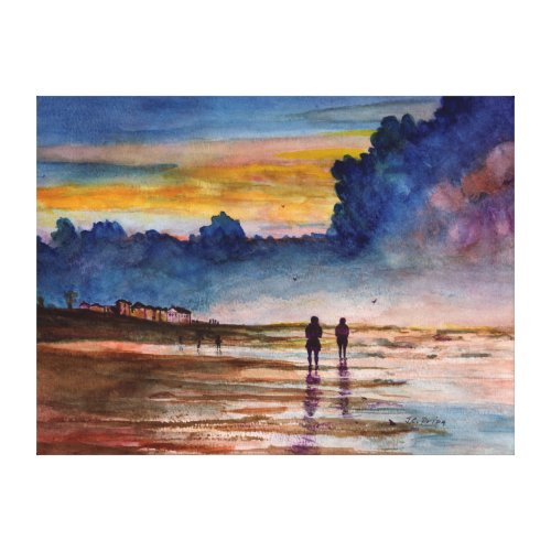 Stormy Sunset Beach Combing Watercolor Seascape Canvas Print
