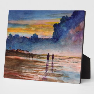Stormy Sunset Beach Combing Watercolor Seascape Display Plaques