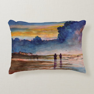 Stormy Sunset Beach Combing Watercolor Seascape Accent Pillow