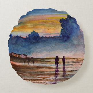 Stormy Sunset Beach Combing Watercolor Seascape Round Pillow