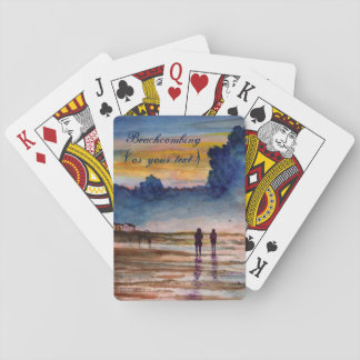 Stormy Sunset Beach Combing Watercolor Seascape Poker Deck