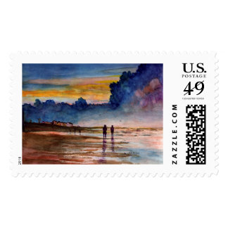 Stormy Sunset Beach Combing Watercolor Seascape Postage