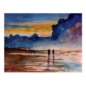 Stormy Sunset Beach Combing Watercolor Seascape Postcard