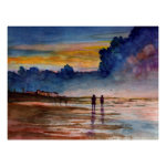 Stormy Sunset Beach Combing Watercolor Seascape Print