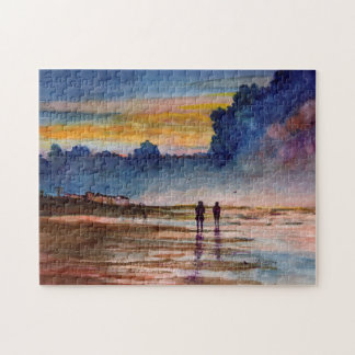 Stormy Sunset Beach Combing Watercolor Seascape Puzzle