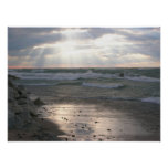 Stormy Sunset Over Lake Michigan Poster
