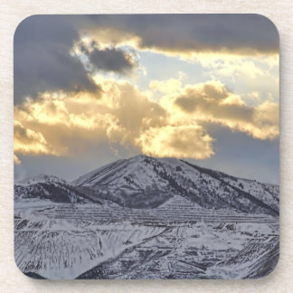 Stormy Sunset Over Snow Capped Mountains Coaster