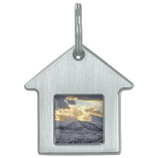 Stormy Sunset Over Snow Capped Mountains Pet Name Tag