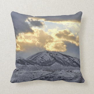 Stormy Sunset Over Snow Capped Mountains Pillow