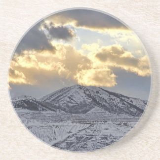 Stormy Sunset Over Snow Capped Mountains Sandstone Coaster