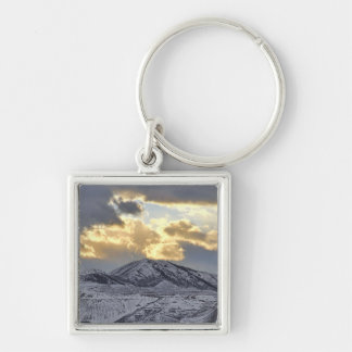 Stormy Sunset Over Snow Capped Mountains Silver-Colored Square Keychain