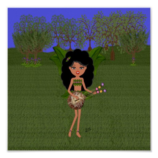 Stormy the Green Winged Faery  with a Guitar Poster