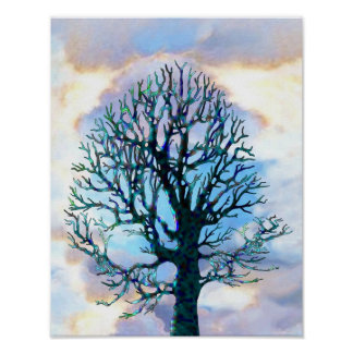 Stormy Tree Clouds Pastel Poster