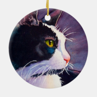 Stormy Tuxedo Cat Christmas Ornament