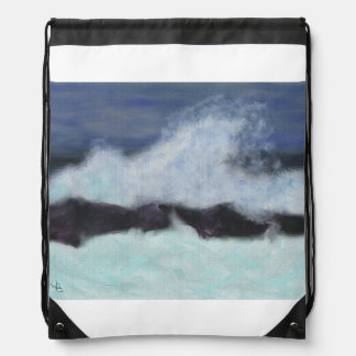 Stormy Waters Art Drawstring Bag
