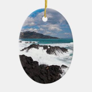 Stormy wave course - island Sicily Ceramic Ornament