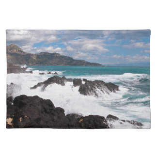 Stormy wave course - island Sicily Cloth Place Mat