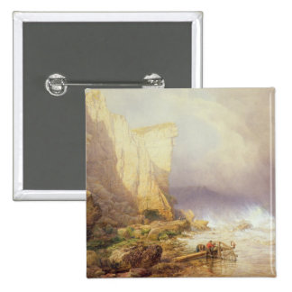 Stormy Weather, Clearing Seaton Cliffs 2 Inch Square Button