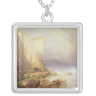 Stormy Weather, Clearing Seaton Cliffs Square Pendant Necklace