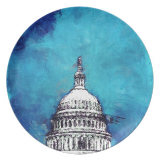 Stormy Weather Over The Capitol Party Plate