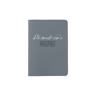 Stormy Weather Slate Gray Solid Color Custom Passport Holder