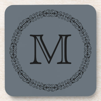 Stormy Weather Slate Gray Solid Color Monogram Coaster