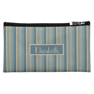 Stormy Weather Vertical Stripes Personalized Makeup Bag